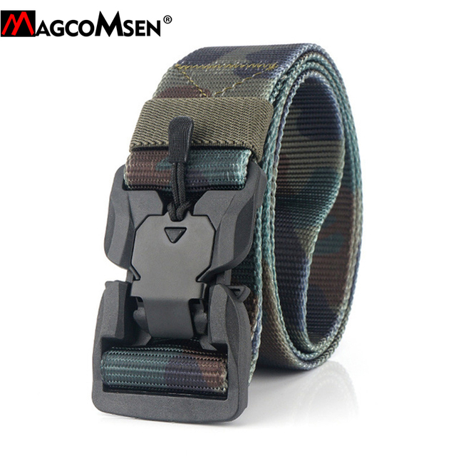 MAGCOMSEN Nylon Tactical Belts Men Multicam Military Heavy Duty Quick Release Belts Waistbands Army Airsoft Gears Paintball