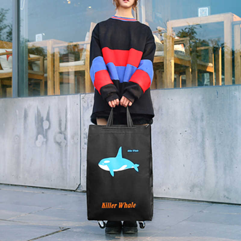 النساء الرجال حقيبة السفر للطي السيدات حقيبة تسوق البقالة بولير حقيبة العربة عجلة حقيبة المحمولة تخزين عربة التسوق