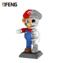 Game Super  Mario Mini Blocks 3D DIY Assembly Cartoon Model Brick Toys for Children Gifts Educational Toy skeleton dissection cat dissection