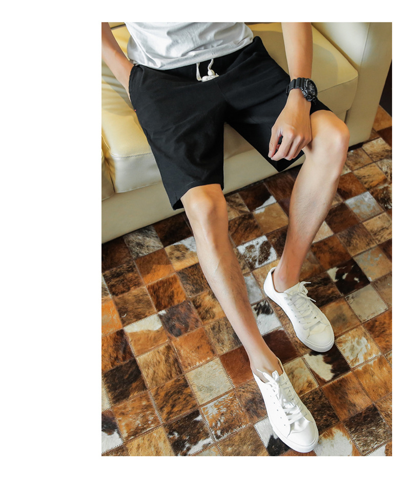 2019 Summer MEN'S Casual Pants Solid Color BOY'S Beaded Bracelet With Drawstring Shorts Large Size BOY'S SHORT Linen Pants