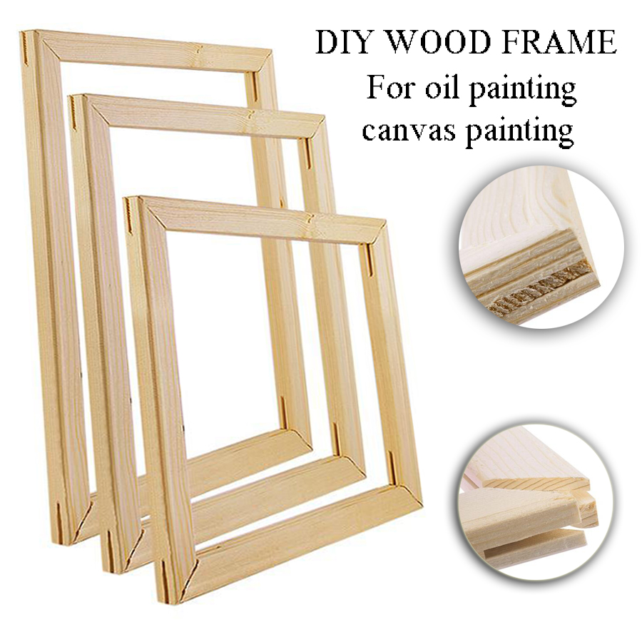 Natural Wood Photo Frame oil Painting by number Frame Wall Art Large DIY Canvas Paintings Frame Posters Hanger Frame Home Decor