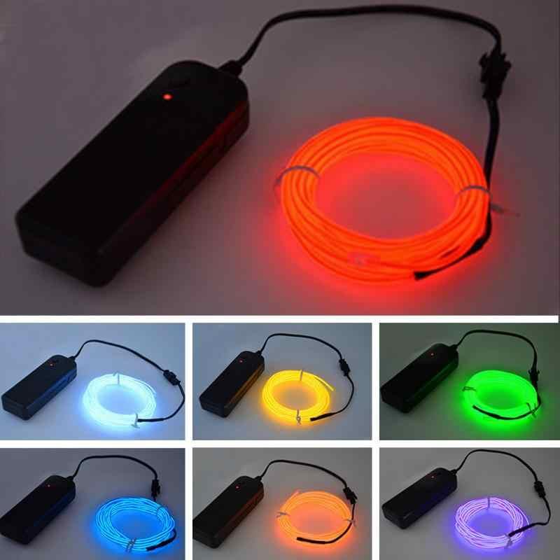 1, 2, 3, 5 м гибкий светодиодный неоновый светильник, светящийся провод, шнур, трубчатый кабель + контроллер батареи, светодиодный светильник для одежды автомобиля, рождественский, Свадебный декор