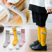 Children Loose mouth Bow Stockings Baby Princess Style Girls Pile Sweet Cotton Long Tube Vertical Calf Pink Black Gray