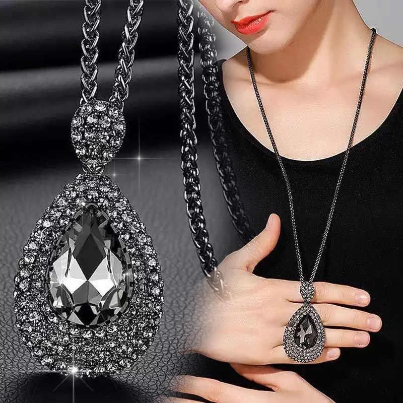 RAVIMOUR Mode Halsband Frauen Halskette Schmuck Geometrische Kristall Erklärung Anhänger Halskette Silber Farbe Lange Kette Colar 2018