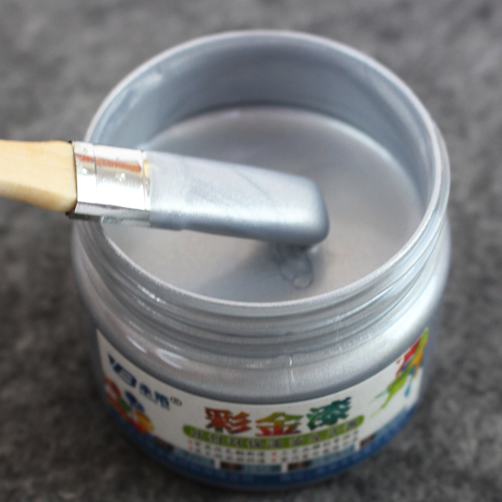 Silver Water-based Paint Wood Varnish Lacquer Metal Paint Coating For Furniture Car Statuary Door Arts Crafts Acrylic Paint 100g