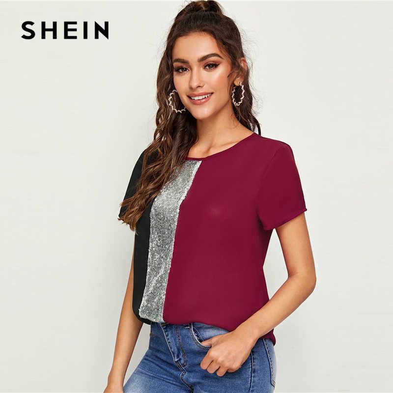 Shein Payet Panel Kontras Disambung Cut-And-Menjahit Top Wanita Atasan dan Blus 2019 Casual Colorblock Lengan Pendek musim Panas Blus