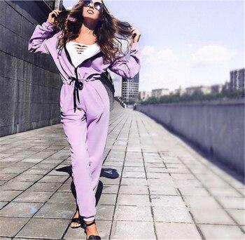 New Fashion Women Sexy Jumpsuit Long Sleeve High Waist Jumpsuit Hoodies Street Wear Drawrsing Jumpsiut Romper Long Trousers 3