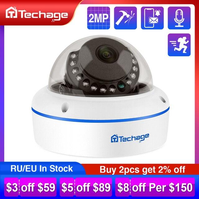 Techage H.265 الأمن POE كاميرا IP 2MP فاندالبور داخلي قبة كاميرا تلفزيونات الدوائر المغلقة ميكروفون P2P المراقبة بالفيديو ONVIF 48 فولت PoE
