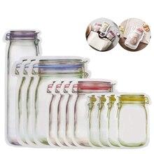 Уплотнение многоразового использования Mason Jar бутылки Органайзер Сумки пищевой контейнер на молнии сумки для хранения еды Органайзер Ziplock Сумки кухонный Органайзер