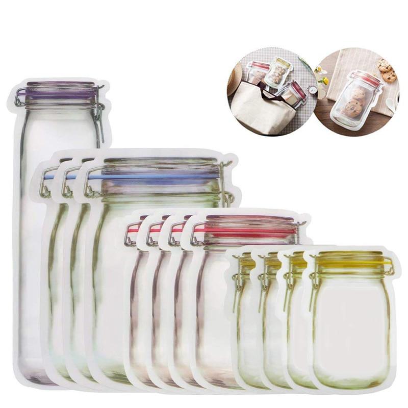 Portable Reusable Mason Jar Bottles Bags Food Snack Zipper Bags Seal Food Container Travel Food Storage Bag Candy Ziplock Bags