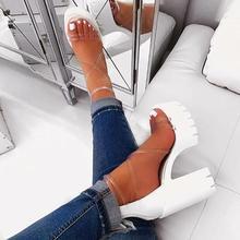 Women Sandals Plus Size 35-41 Transparent PVC High Heels Shoes
