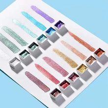 Pigment Paints-Set Art-Supplies Acuarela-Suit Solid Watercolor Metallic 12-Colors Glitter