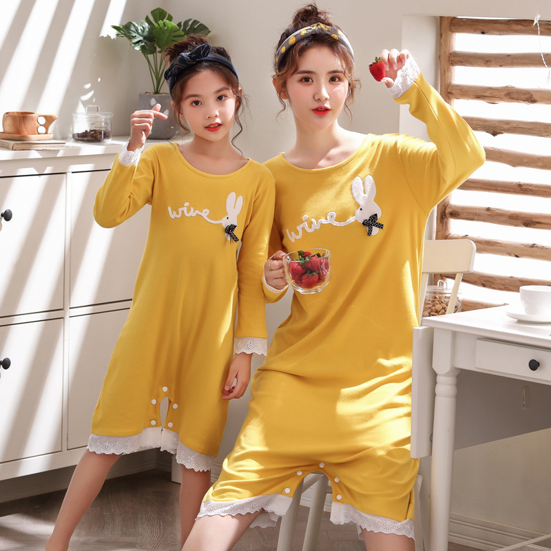 Girl'S Nightgown Spring And Autumn Summer Thin Section Pure Cotton Little Girl Princess Baby Home Wear One-piece Children Kick P