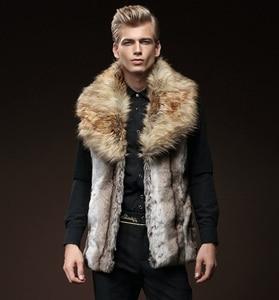 Image 3 - 무료 배송 새로운 패션 남성 남성 모피 겨울 자기 재배 조끼 모조 토끼 모피 머리 대형 머리 칼라 짙어지면서