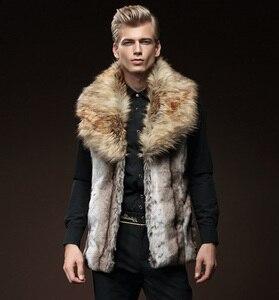 Image 3 - Gratis Verzending Nieuwe mode mannelijke mannen bont winter zelfontplooiing vest imitatie konijnenbont haar grote haar kraag verdikking