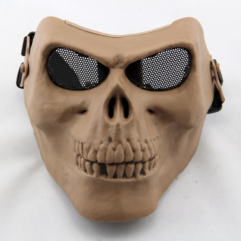 Tactical Air Soft Military Skull Paintball Mask Full Face CS Wargame Cosplay Protective Metal Mesh Outdoor Sports Halloween Mask