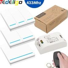 Interruttore della luce senza fili RF 433MHz telecomando Smart Switch AC 95-250V 10A ricevitore pannello a parete per camera da letto, lampada luci galleria