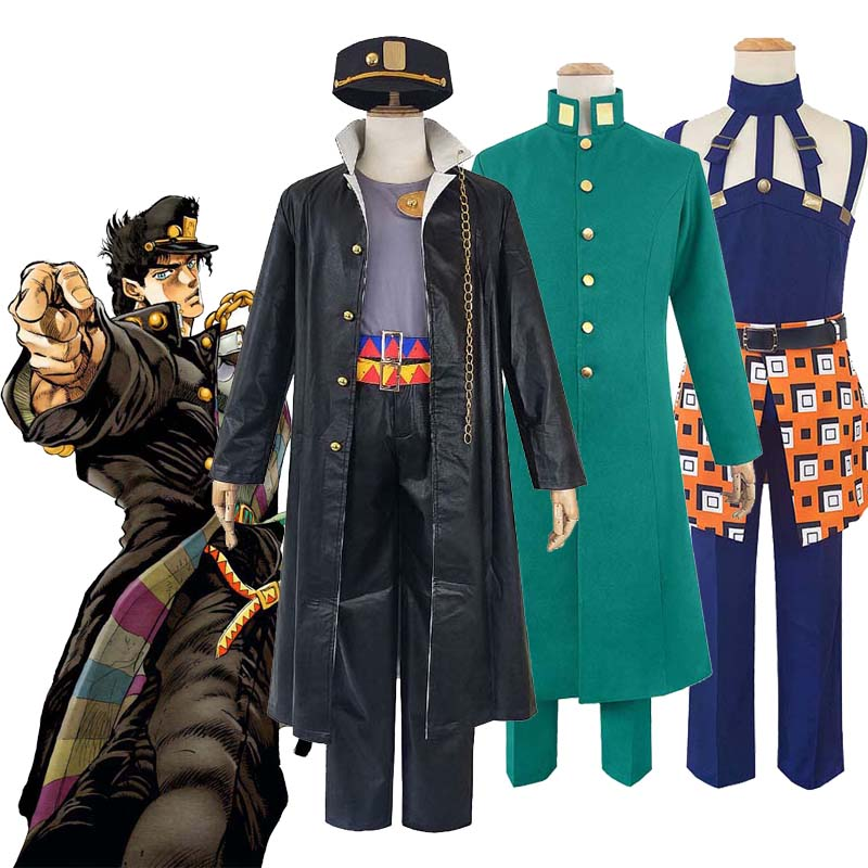 Anime JOJO JoJo's Bizarre Adventure Kujo Jotaro Narancia Ghirga Kakyoin Noriaki Cosplay Costume Halloween Uniform Full Set