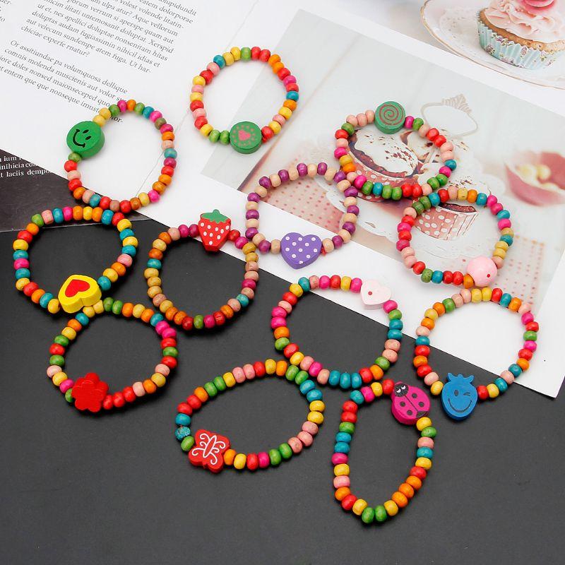 12 pièces Bracelets en bois colorés petites filles Bracelets Kit enfants bijoux de mode