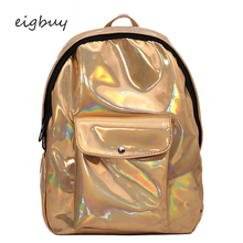 School Bags For Teenager Girls Female Holographic Backpack Women Soft Laser Pu Leather Travel Backpacks Silver Hologram недорого