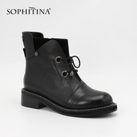 SOPHITINA Zipper Ankle Boots High Quality Brand Genuine Leather Woman Shoes Handmade Slip on Square Heel Round Toe Boots SL21