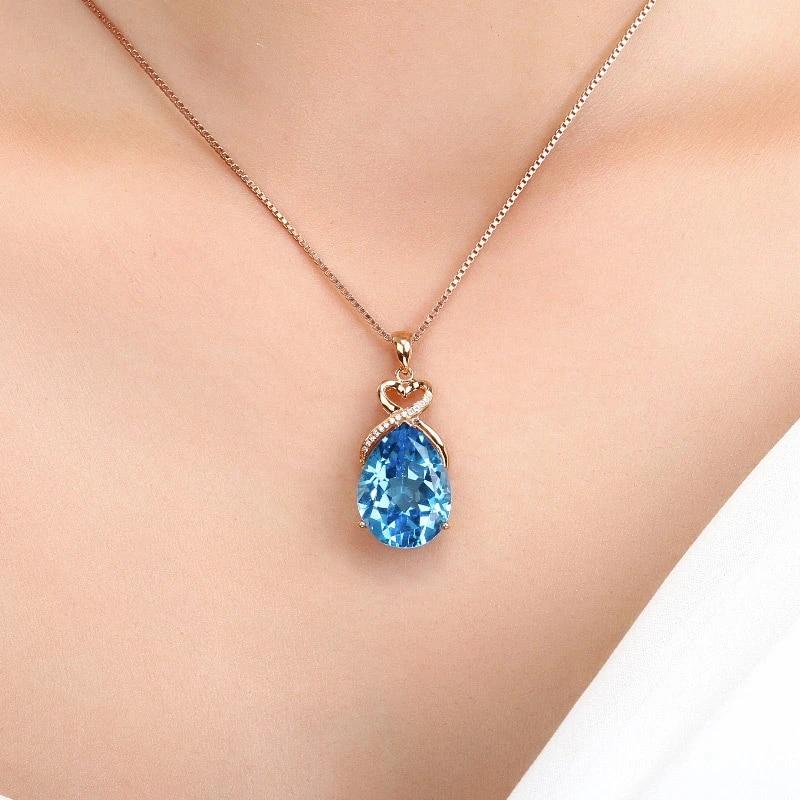 14K Rose Gold color Sapphire Stone Pendant Women Pure Natural Blue Sapphire  Gemstone 14K Rose Gold Necklace Jewelry Pendant|Pendants| - AliExpress