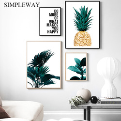 Scandinavian Golden Pineapple Leaf Wall Poster Botanical Canvas Art Print Motivational Quotes Painting Nordic Decoration Picture