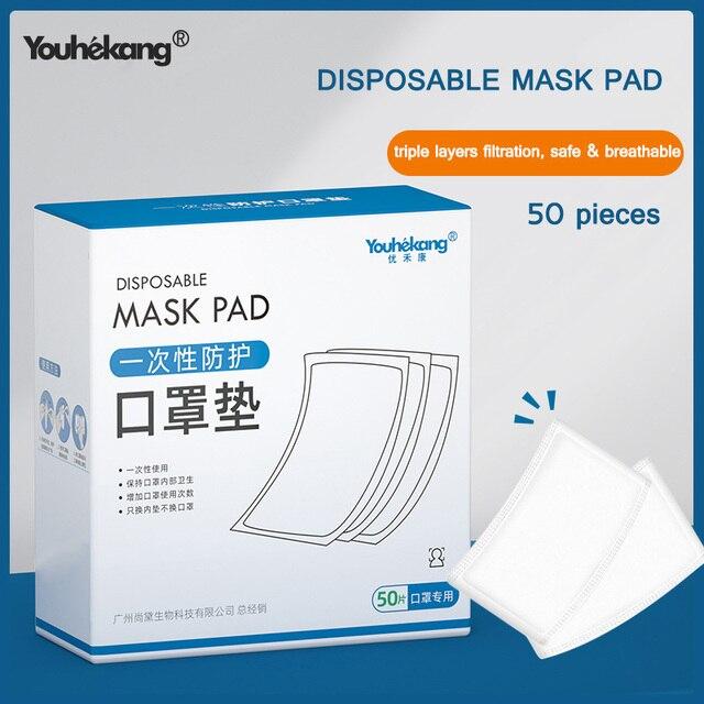 50 stücke Einweg Gesichts Maske Filter Pad vlies Anti staub Maske Ersatz Universal Schutzhülle Austauschbare Gesicht Maske filter