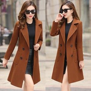 Image 3 - 모직 여성 자켓 코트 긴 슬림 블렌드 겉옷 2019 새로운 가을 겨울 착용 오버코트 여성 숙녀 모직 코트 자켓 의류