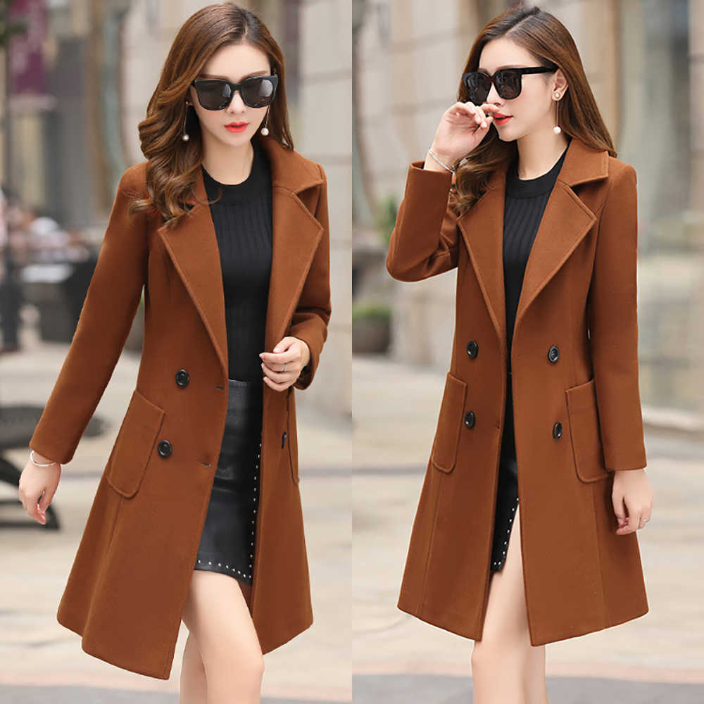 Wol Wanita Jaket Mantel Panjang Slim Campuran Pakaian Luar 2019 Baru Musim Gugur Musim Dingin Pakaian Mantel Wanita Wanita Wol Mantel Jaket Pakaian