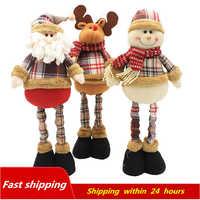 Papai noel bonecas ano novo aniversário presentes para amigos amantes família decorações de natal para casa retrátil de pé brinquedo natal
