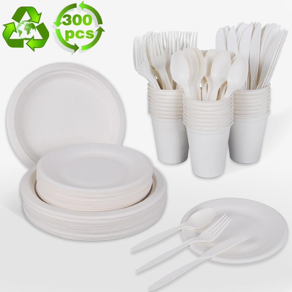 300PCS White Degradable Tableware Disposable Tableware Birthday Party Decor Disposable Plate Cup Knife Event Party Supplies