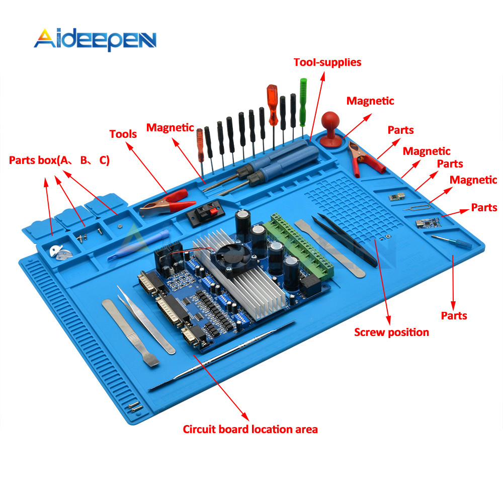 ESD Heat Insulation Working Mat Soldering Station Iron Phone Computer Repair Mat Magnetic Heat-resistant BGA Insulator Platform