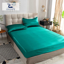 Liv-Esthete 1PCS Healthy Luxury Fitted Sheet Mattress Cover Green Bed On Elastic Band Adult Rubber Pure Silk