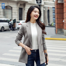 Slim-fit women's jacket with high quality 2019 new temperament small plaid in the long ladies