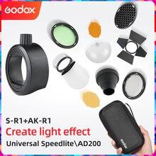 Godox AK R1 + Godox AD200 H200R V1 플래시 헤드 용 헛간 도어, Snoot, 컬러 필터, 리플렉터, 벌집, 디퓨저 볼 키트 S R1