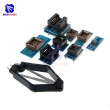 Diymore 8 PCS Programmatore SIM Card E Adattatori Kit Presa di SOP8 + SOP16 + PLCC32 + PLCC44 Adattatore per TL866CS TL866A EZP2010 RT809H programmatore