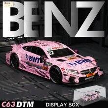 Liga de metal carro modle com caixa de exibição simulação altura 1:43 dtm amg c63 corrida diecast veículos de brinquedo modelo de carros de presente para o brinquedo do miúdo