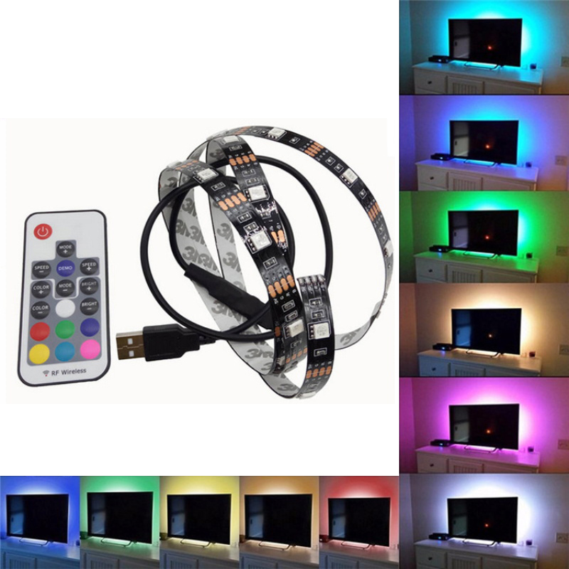 Remote Control USB Flexible LED Strip Light Car 5050 RGB TV Backlight Self-adhesive 5V Waterproof 5/10/20/30/40/50cm Multicolor