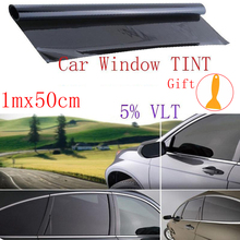 Новинка, профессиональная пленка 100x50 см, 5% VLT, тонировка на окна автомобиля, профессиональная, темный дым, черная пленка, не вырезанная стеклянная наклейка, прочная Солнцезащитная пленка