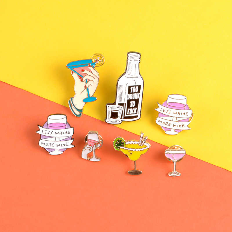 Wine bottle enamel pin Not going home tonight badge brooch for women Goblet cocktail Lapel pin Clothes bag jewelry gift friends