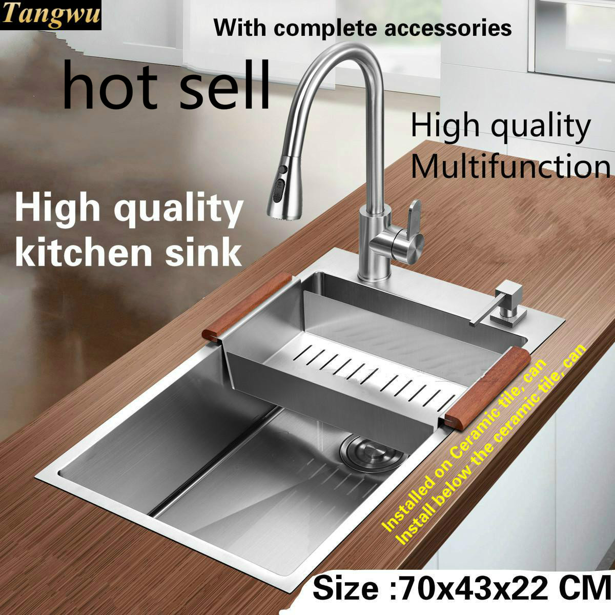 Tangwu High Quality Food Grade Stainless Steel Kitchen Sink 1.2 MM Thick Handmade Single Slot Durable Hot Sell 70x43 CM