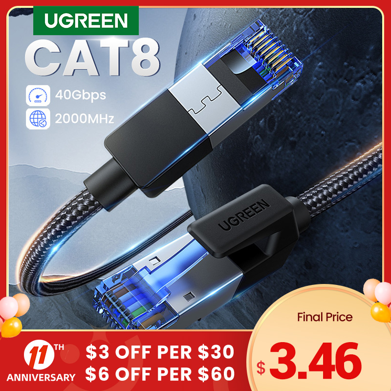 UGREEN Ethernet Cable CAT8 40Gbps 2000MHz CAT 8 Networking Cotton Braided Internet Lan Cord for Laptops PS 4 Router RJ45 Cable