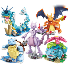 Anime pokemon Blastoise Pikachu Venusaur Charizard Gyarados Animal Snorlax Jigglypuff DIY Building Blocks Toys Kids gift lno 217pcs charizard pokemon building block