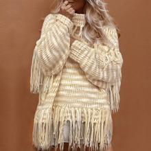 Women Turtleneck Tassel Knitted Sweaters Long Sleeve Autumn Winter Loose Pullover Sweater Female Instagram Oversize Warm Tops