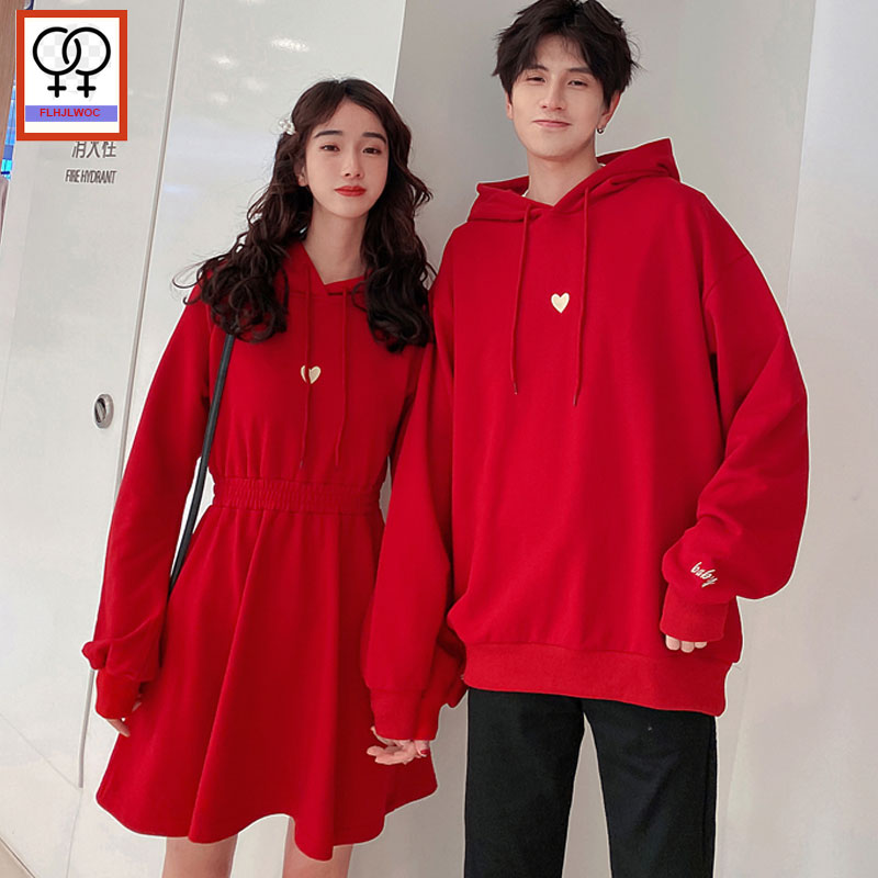 Matching Couple Hoodies Sweatshirts Hot Sales Male Female Lovers Clothes Holiday Valentine's Date Casual Loose Hoodie Dress Red