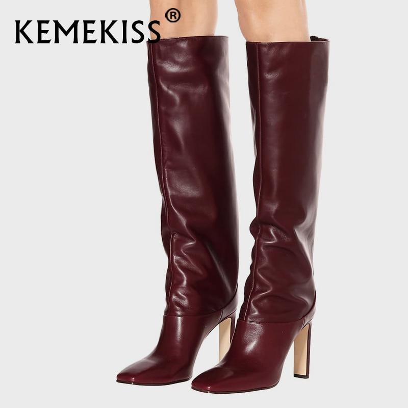 KemeKiss Plus Size 34-43 Knee High Boots Women New Design Fur Warm Winter Shoes Women Fashion High Heel Botas Woman Footwear
