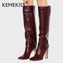 Winter Shoes Kemekiss High-Boots New-Design Women Knee Plus-Size Fashion 34-43 Footwear