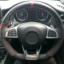 Ręcznie szyte czarne włókno węglowe zamszowe pokrowce na kierownicę samochodową do Mercedes Benz s class S500 2016/a class AMG A45 16 19