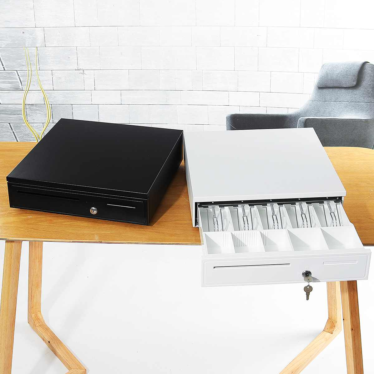 Boîte de tiroir de caisse lourde avec 5 plateau de monnaie 5 plateau de billets caisse enregistreuse RJ11 serrure à clé tiroir-caisse amovible pour supermarché blanc/noir